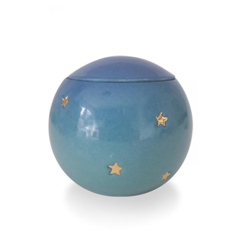 urne funeraire enfant bleue avec etoiles dor