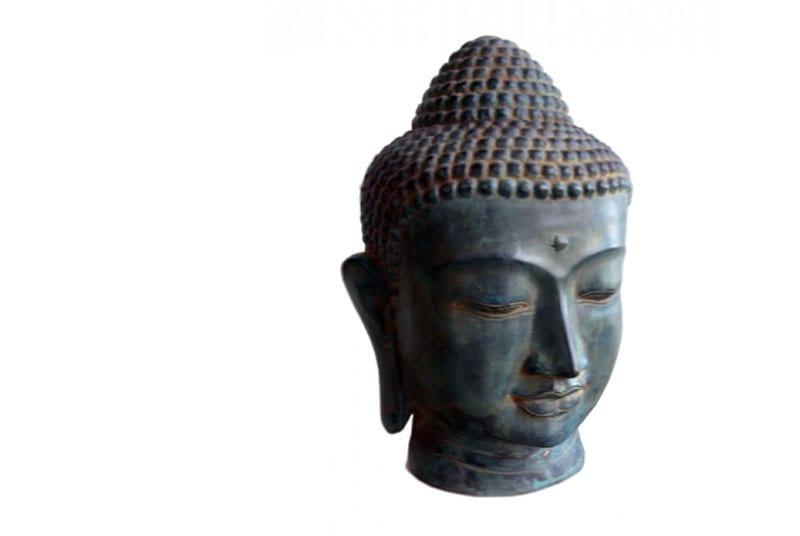 urne funeraire tete bouddha bronze vert