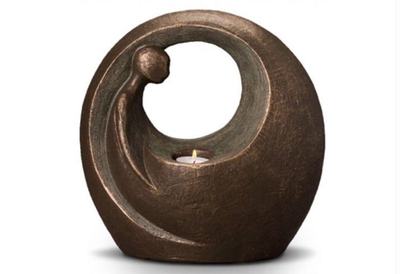 urne funeraire ceramique couleur bronze avec bougie