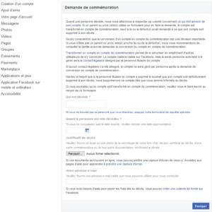 Formulaire de demande de commémoration Facebook