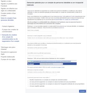 Formulaire de demande spéciale pour le compte Facebook d'une personne décédée