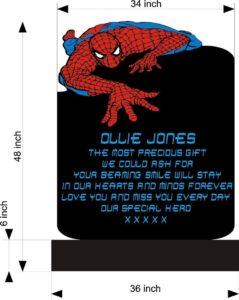 Dessin préparatoire de la pierre tombale Spider-Man d'Ollie Jones