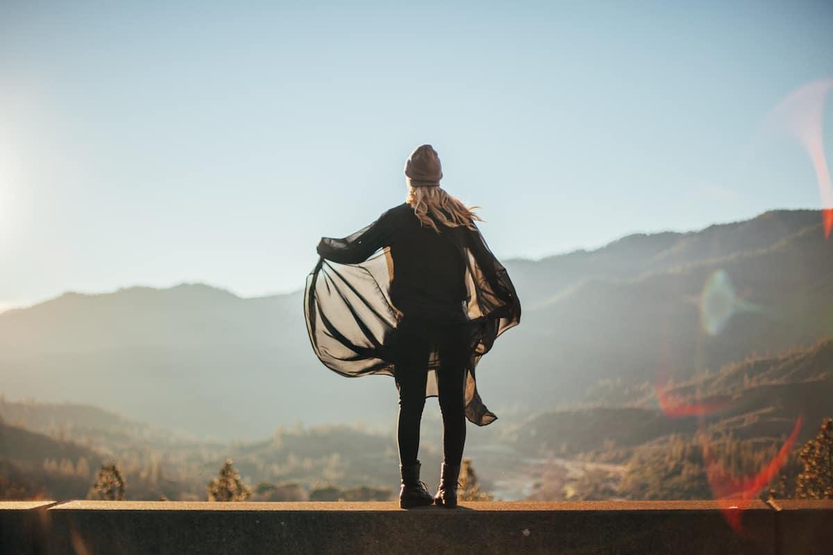 fille saut parapente