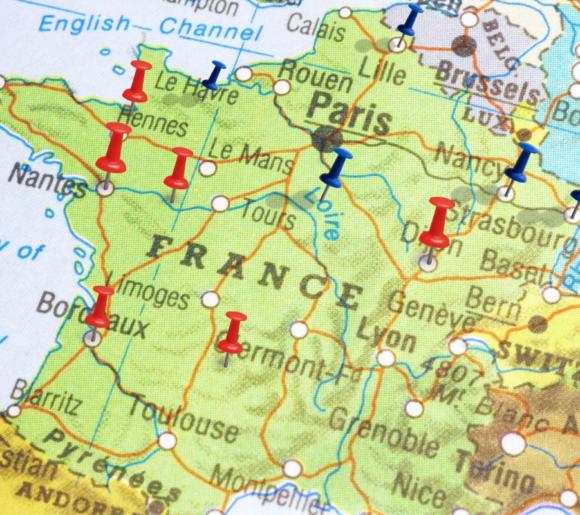 Carte de France des Coopératives Funéraires